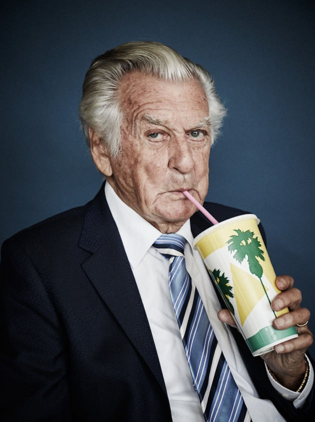 The Honourable Bob Hawke savouring a strawberry milkshake, 2017, Harold David