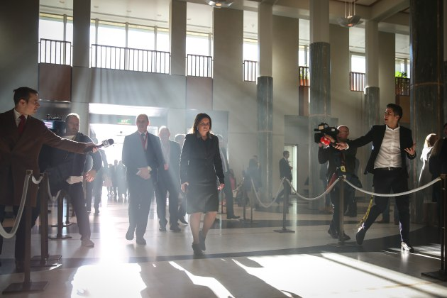 © Matt Roberts. Tasmanian Senator Jacqui Lambie enters Parliament House following a smoking ceremony to commemorate the opening of the 46th Parliament. After being disqualified in 2017's dual-citizenship saga, Lambie is re-elected and instantly holds a crucial cross-bench vote in the Senate on the Coalition's tax cut plan, the key policy Scott Morrison took to the 2019 election. Parliament House, Canberra, 2 July 2019.