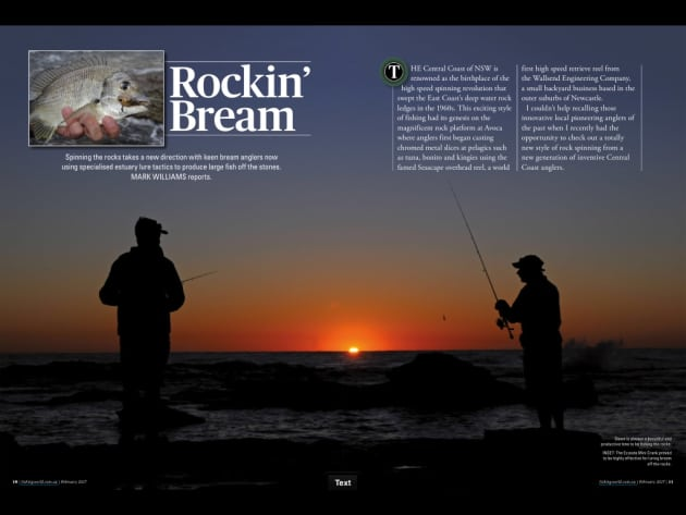 Spinning the rocks takes a new direction with keen bream anglers now using specialised estuary lure tactics to produce large fish off the stones. Mark Williams reports.