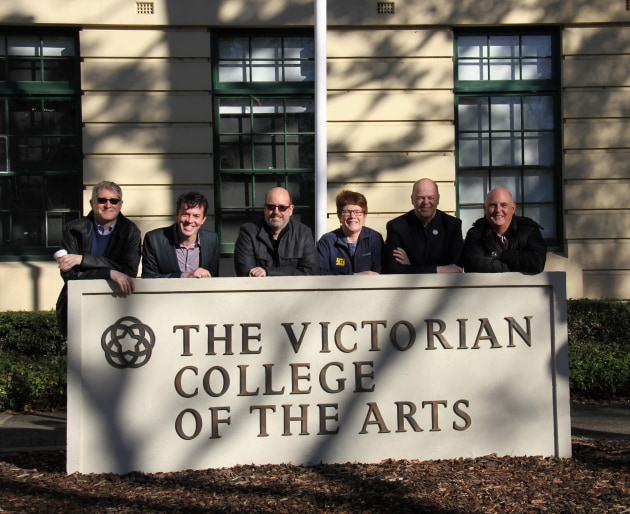 Tyran Parke welcomes the producers of 'Come From Away' to the Victorian College of the Arts. Photo: Mireille Stahle.