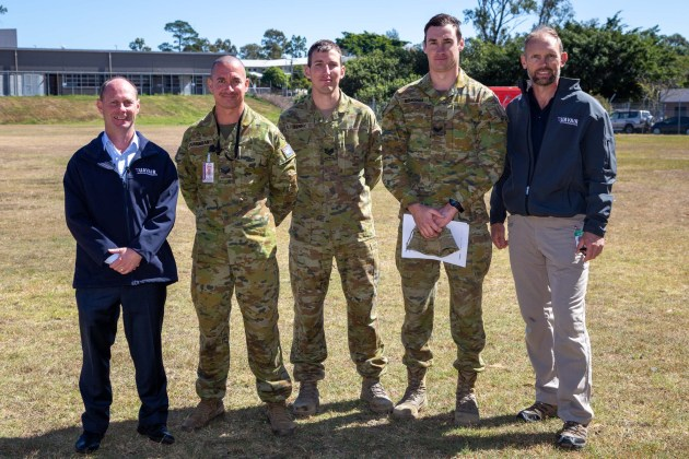 UAVAIR general manager David Mann (left) alongside RPAS instructor Michael Skalij and students at Enoggera Barracks. Credit: UAVAIR