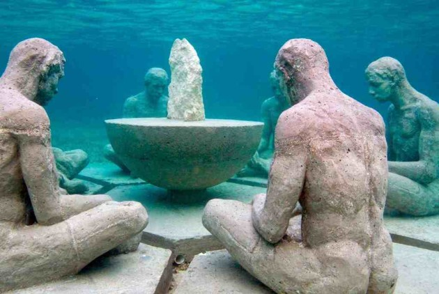 """Understanding"" by Elier Amado Gil off the coast of Punta Nizuc as part of the Museo Subacuático de Arte. Courtesy the MUSA."