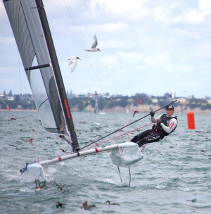 Mutton birds fly from Glenn Ashby's path in the A Class Worlds. Photo Cathy Vercoe/LuvMyBoat.com.