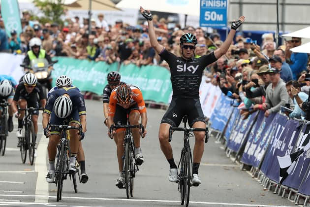 Team Sky's Ian Stannard wins the 4th and final stage of the 2017 SunTour. Image: Con Chronis.