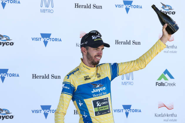 Damien Howson on the podium after being crowned winner of the 2017 Jayco Herald Sun Tour. Image: Con Chronis.