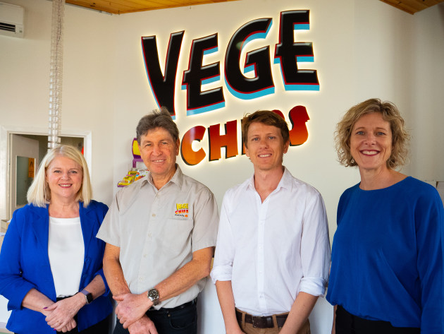 The Hon Karen Andrews MP, Brad Johnson, Director The Vege Chip Company, Tim Lowe, Assistant General Manager The Vege Chip Company and Tanya Barden, Chief Executive Officer at the Australian Food and Grocery Council.