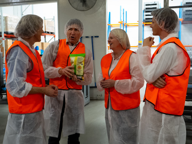 Tanya Barden, Chief Executive Officer at the Australian Food and Grocery Council, Brad Johnson, Director The Vege Chip Company, The Hon Karen Andrews MP and Tim Lowe, Assistant General Manager The Vege Chip Company.