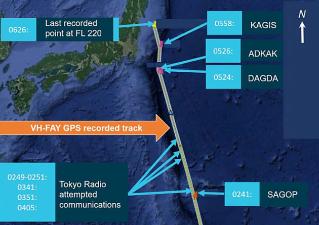 The final track of VH-FAY before it crashed into the ocean off Japan. (ATSB)