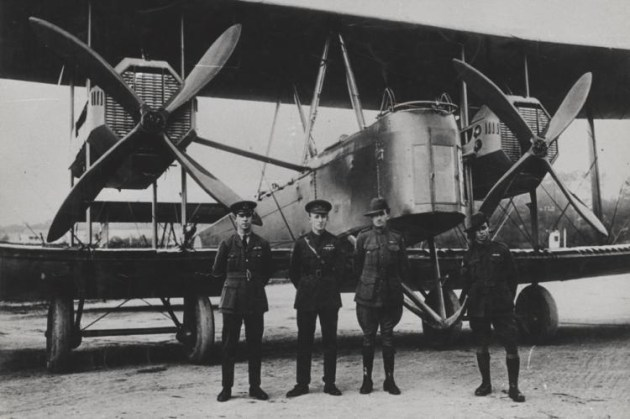 Keith and Ross Smith with other crew members stand before their Vickers Vimy. AHSA NSW plans to recreate the Australian sectors of their historic flight. (John Furlong / State Library of South Australia)