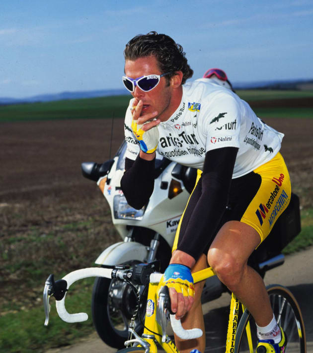 Watson has seen it all. He snapped this iconic image of Mario Cipollini smoking a cigarette during the 1994 Paris Nice. Image: Graham Watson