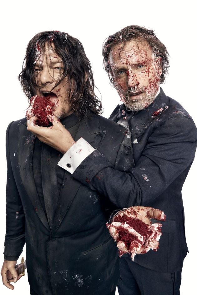 Norman Reedus and Andrew Lincoln for a cover story for Entertainment Weekly celebrating the 100th episode of
