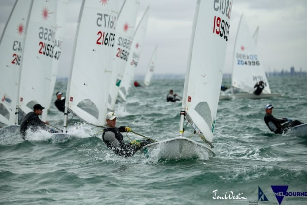 Matt Wearn leads the 2020 Australian Laser Championships. Photo Jon West Photography.