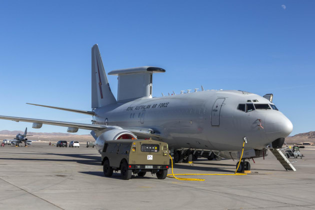 An E-7A Wedgetail from Number 2 Squadron sits on the tarmac at Nellis Air Force Base.