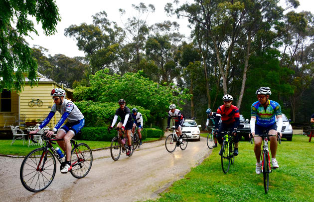 Rain and fog didn't put this group of riding mates off a morning trip around the Southern Highlands. Image: Nat Bromhead