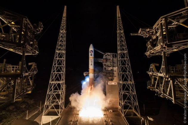 One of the Wideband Global Satcoms system satellites launching aboard a Delta rocket. Credit: ULA