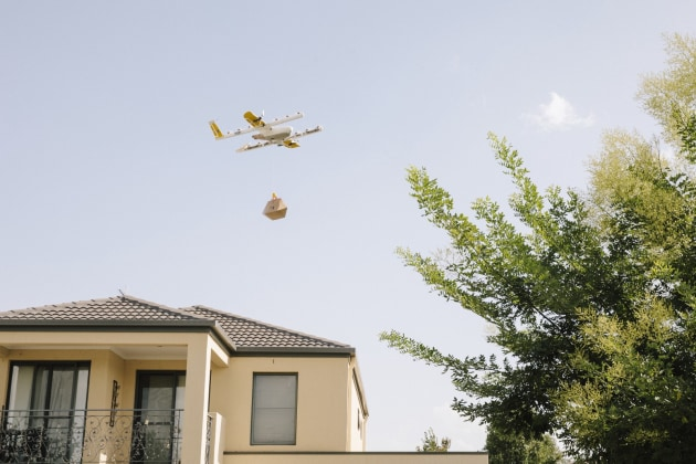 Wing's drone delivery in Canberra.