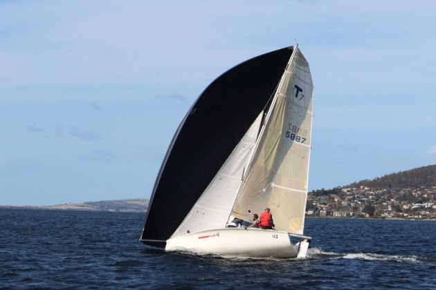 Temptation, winner of Division2 , comes from Australia's southernmost yacht club,  Port Esperance Sailing Club at Dover, 77km south of Hobart.  Photo Peter Watson.