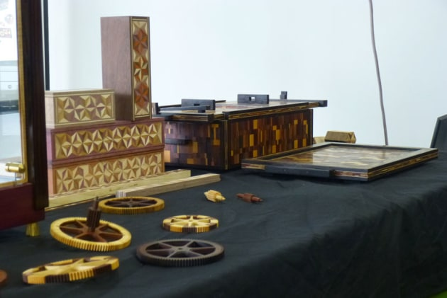 Display of yosegi boxes by Benjamin Reddan and clock parts by Will Matthysen.