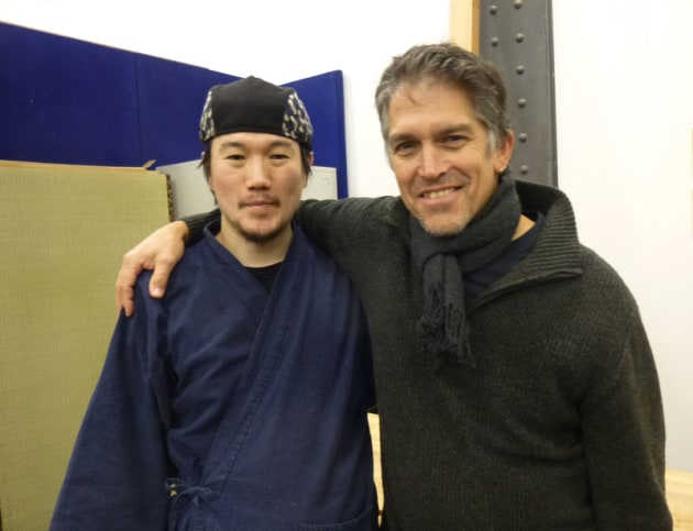 Shinobu Kobayashi with Alistair Boell (Melbourne Guild of Fine Woodworking).