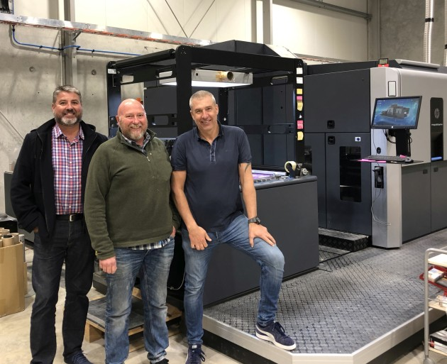 Digital drivers: Wrapt executives (from left) Chris Wise, Dale Pfeiler and Steve Matthews in front of the HP Indigo 20000.