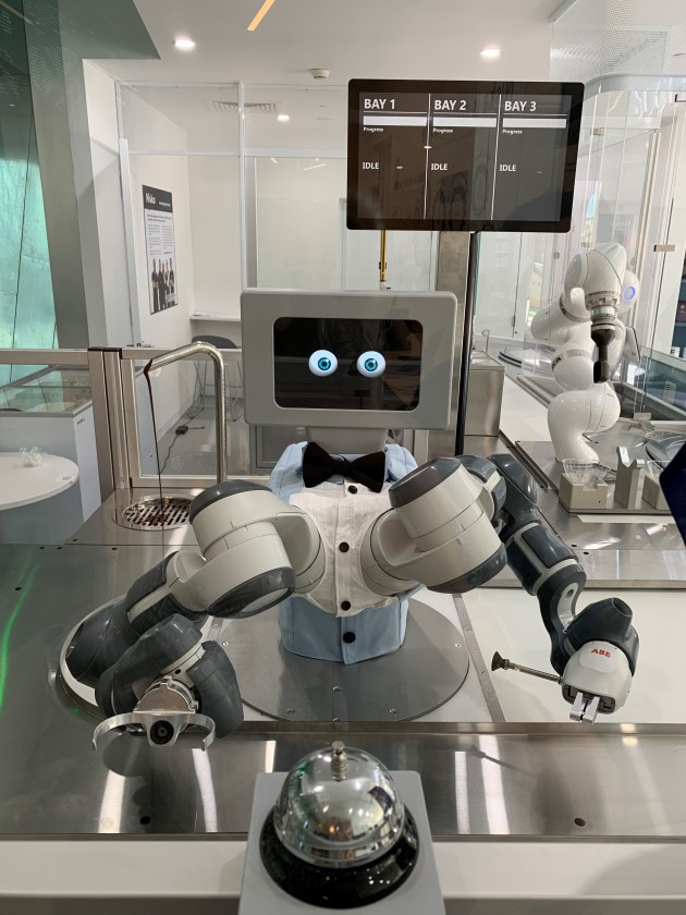 ABB's Yumi robot, named Tony in the Niska store, adds toppings to the ice cream bowls.