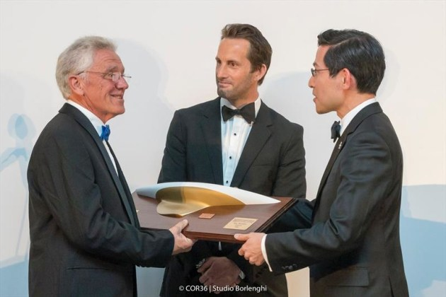 Sir Ben Ainslie, Ken McAlpine and Steve Tsuchiya at the 2018 America's Cup Hall of Fame Induction. Photo © Carlo Borlenghi.