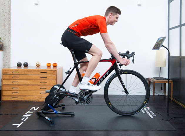 A well set up Zwift rider - we will have details of how to set up your 'pain cave' in future articles in this series. Image: Zwift
