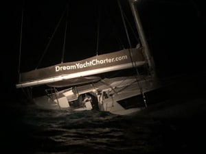 Coast Guard, good Samaritan rescue one French national, one US citizen from sinking catamaran north of Puerto Rico