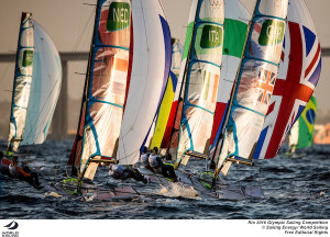 Denmark leads 49erFX but Kiwis and Brazilians are pressing in second place