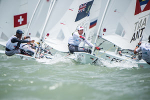 Larkings and Davey lead 29er class at Youth Worlds after first day of racing