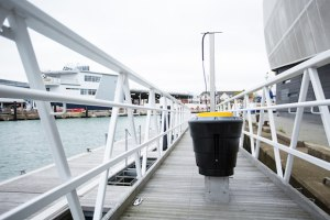Land Rover BAR install the UK's first Seabin