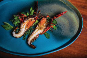RECIPE: Lennox Hastie's frilled marron, finger-lime and native herbs