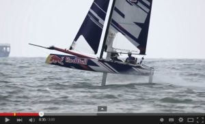 Roman Hagara and Hans-Pieter Steinacher show off their 6 metre foiling cat