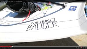 Outteridge and Jensen dedicate their new skiff to The Honey Badger