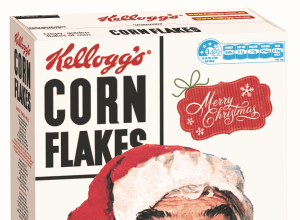 Norman Rockwell works grace festive Corn Flakes box