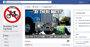 Threats, Claims Of Violence On Australian Anti-Cyclist Hate Page
