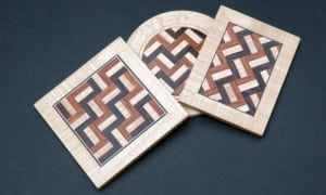 Parquetry Wood Brooches
