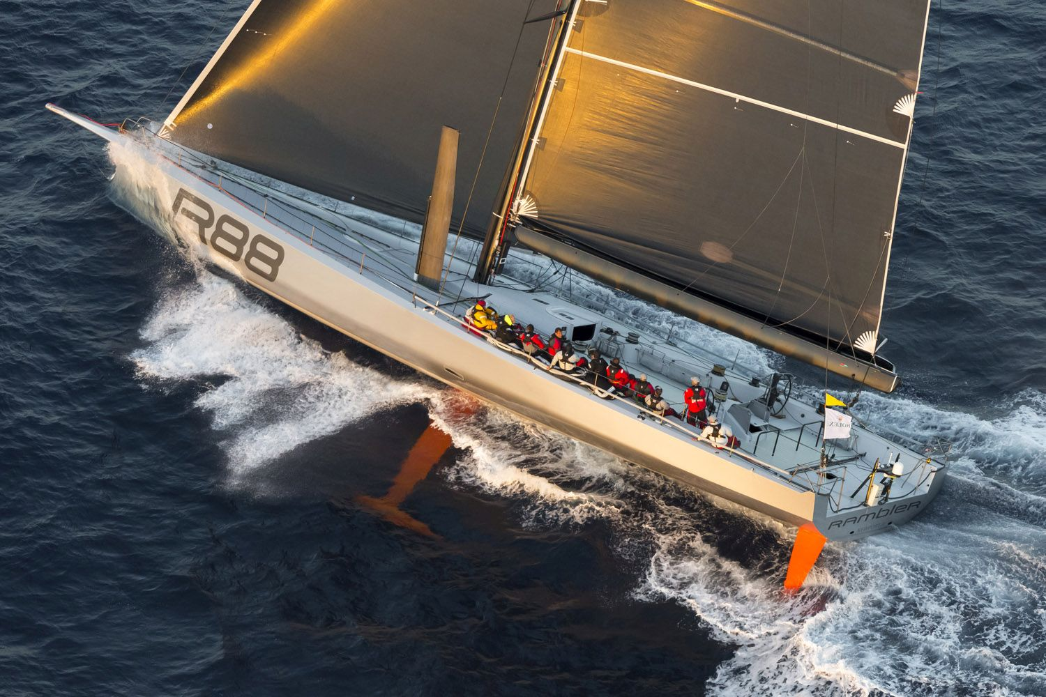 Rambler 88 goes test sailing off Sydney Heads