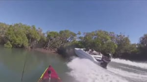 VIDEO: Close call for kayaker