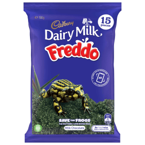 Freddo's frog friends front packs from February