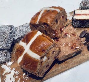 Coles' lamington hot cross bun creation