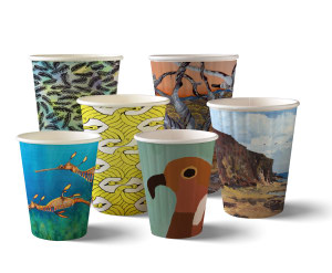 BioPak launch coffee cup series by Open Canvas artists