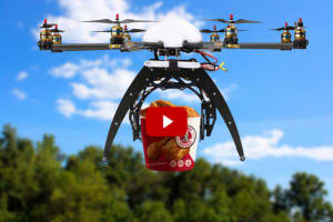 Man uses drone to collect fried chicken from 'drive-thru'