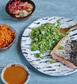 Recipe: Spicy miso salmon with broccoli rice