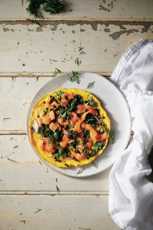 Recipe: Salmon and kale omelette