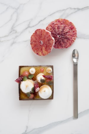 RECIPE: Keith Jones' torched orange tart with blood orange gel and citrus meringue