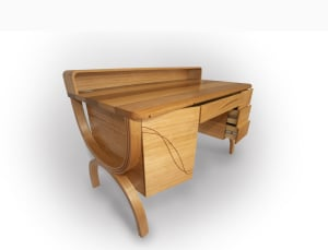 Owain Pierce's desk with laminated curves and lasercut inlay
