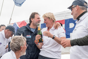Clipper Race: Champagne celebrations for competitive Aussie couple