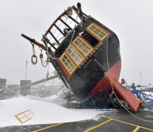 Replica tall ship, trashed in a storm, is in Maine for overhaul