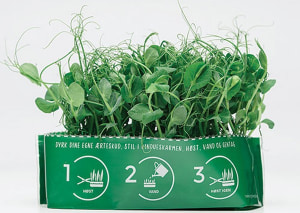Schur Star system sprouts fresh peas in a bag